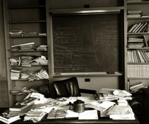 Albert Einstein's office Ñ just as the Nobel Prize-winning physicist left it Ñ taken mere hours after Einstein died, Princeton, New Jersey, April 1955.