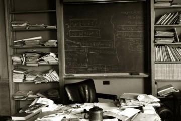 Albert Einstein's office Ñ just as the Nobel Prize-winning physicist left it Ñ taken mere hours after Einstein died, Princeton, New Jersey, April 1955.